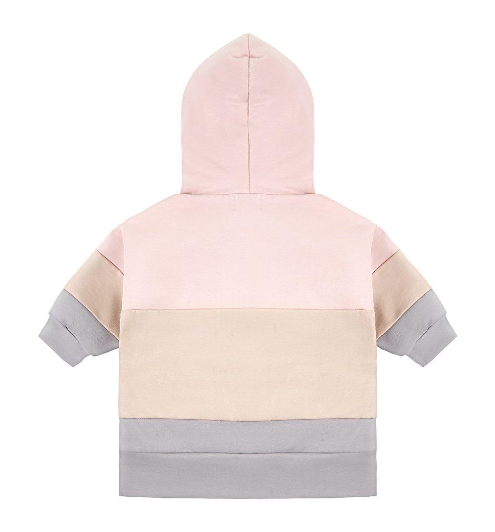 bluza z kapturem szaro biało różowa n1