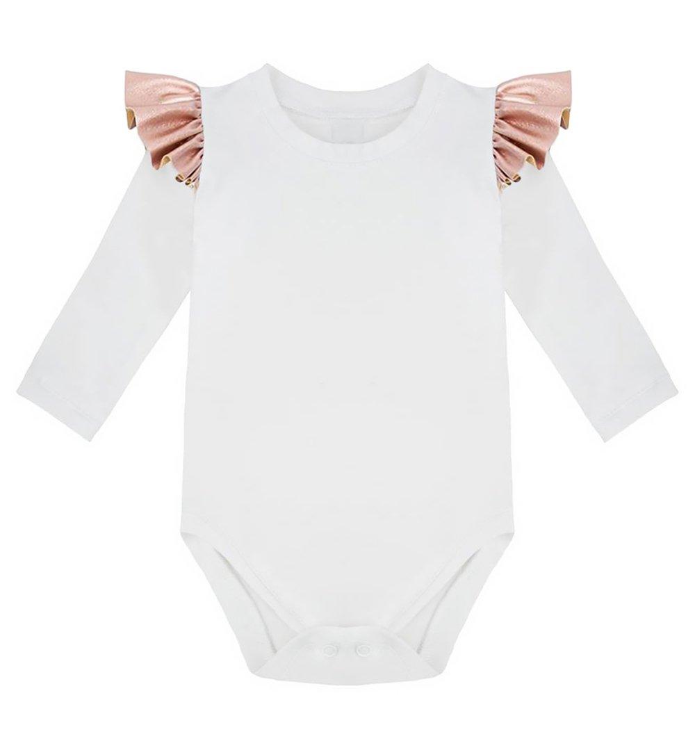 6a875cde835e43 Body białe długi rękaw różowa falbanka biały   Niemowlak \ Body ...